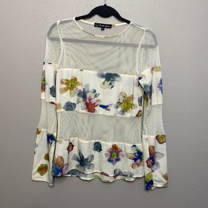 For Love and Lemons Floral Mesh Panel Blouse Small